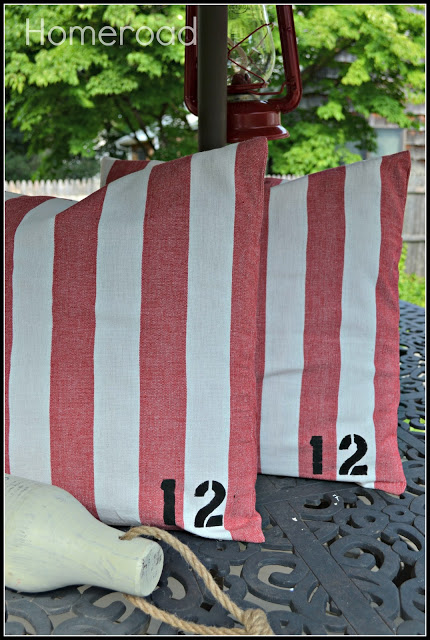 DIY Nautical striped pillows