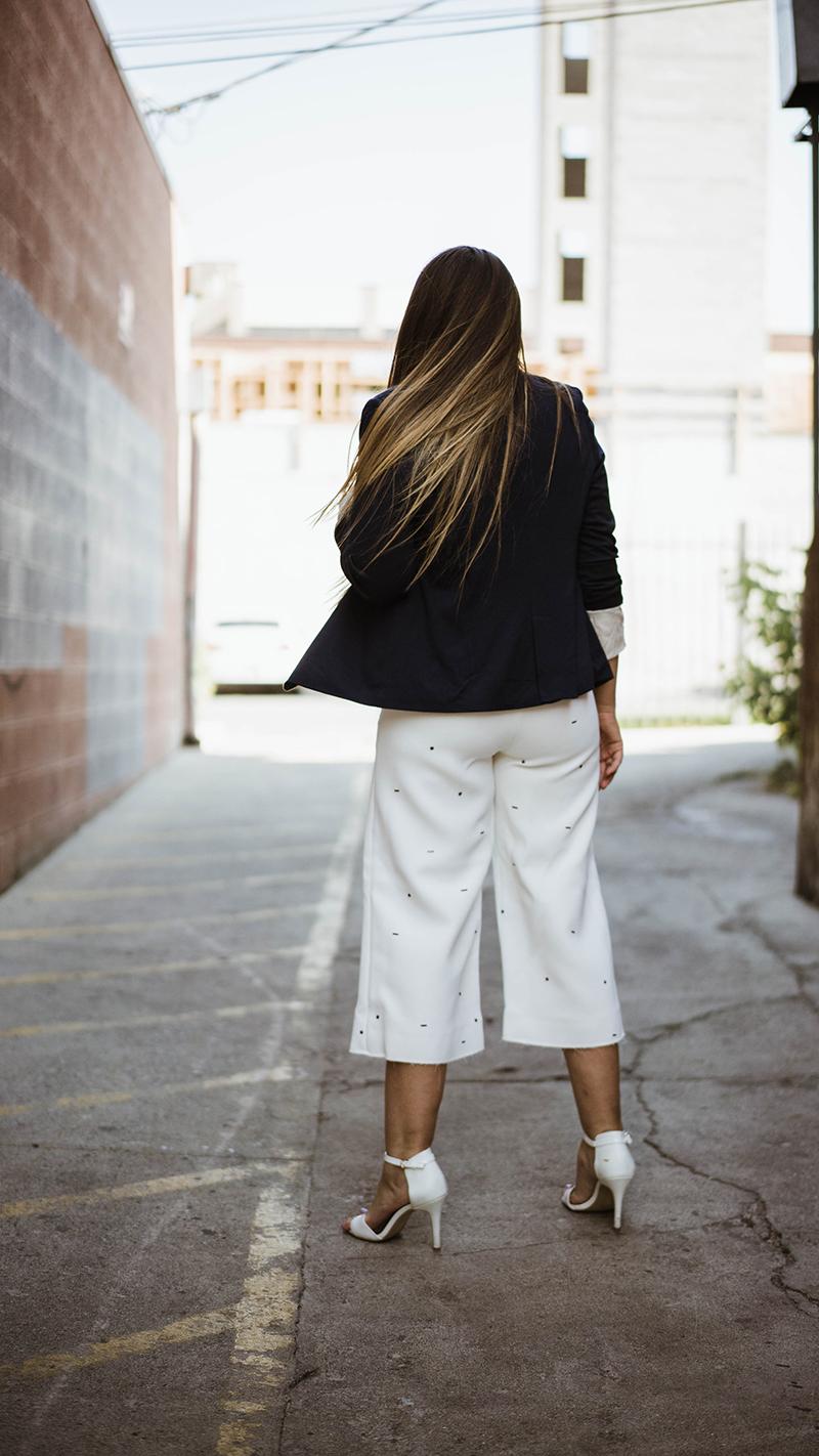 long brunette hair, work attire, work outfit