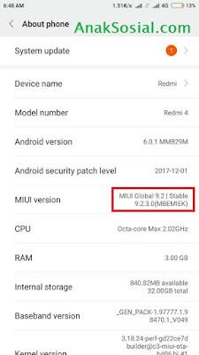 MIUI versi 9.2.3.0 MBEMIEK