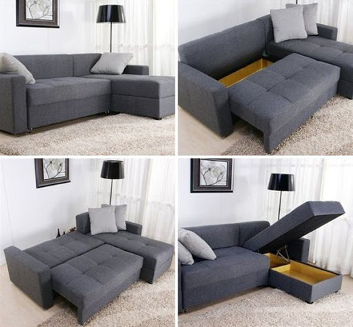 Sofa sectionals with bed for small spaces