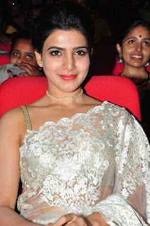 Actress Samantha Stills in Designer Saree at Surya 24 Movie Audio Launch  0023.JPG