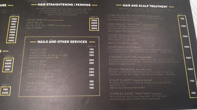 vivere salon menu of services