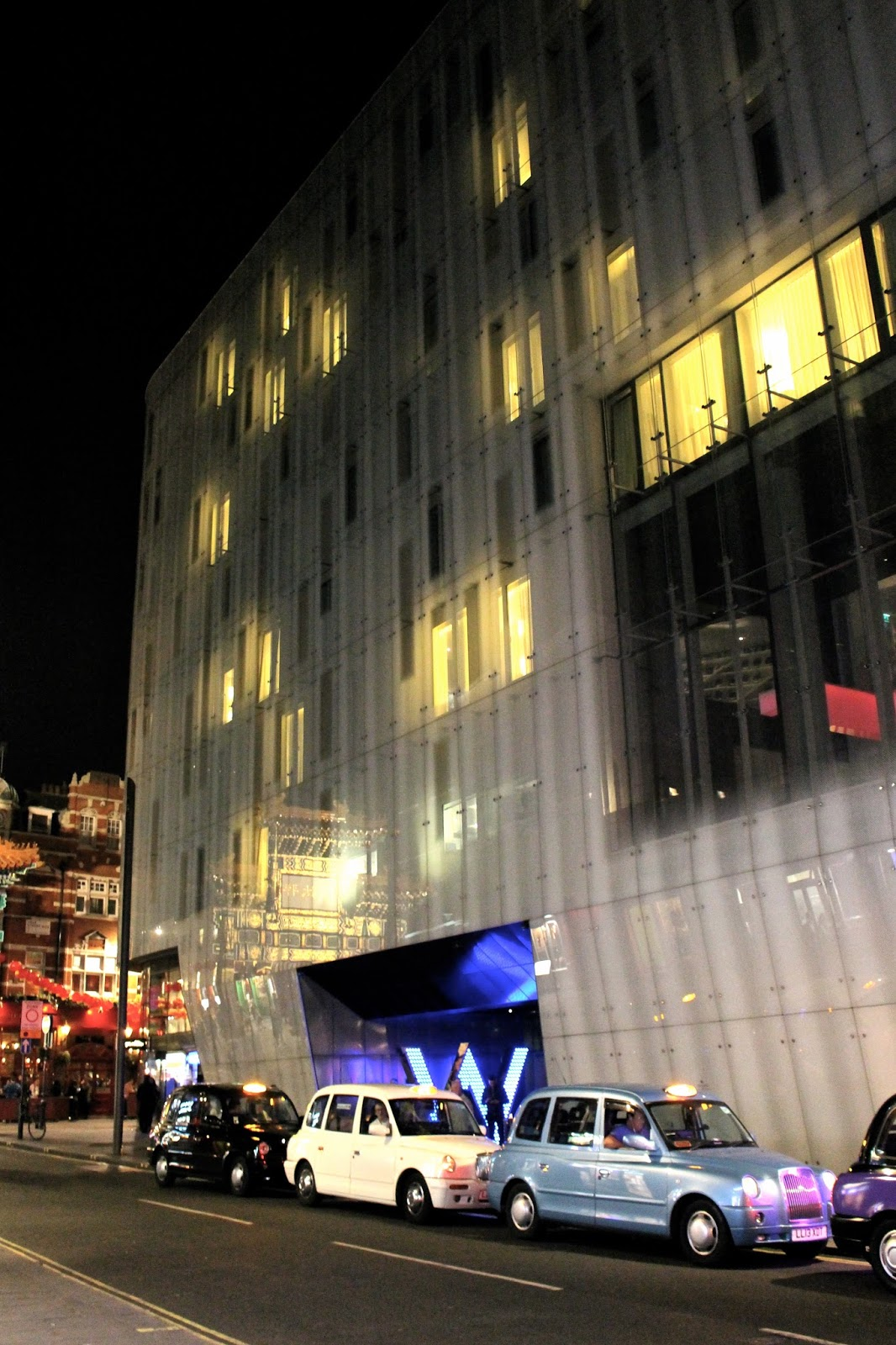 W London Hotel exterior by night