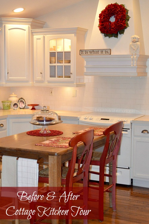 Before and after Cottage Style Kitchen Tour text over cottage style kitchen
