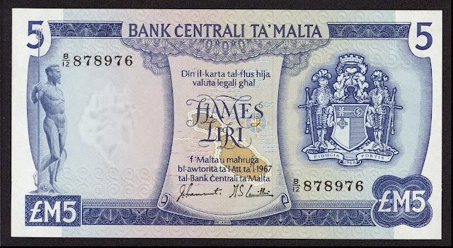 Malta Banknotes 5 Maltese Lira banknote 1973