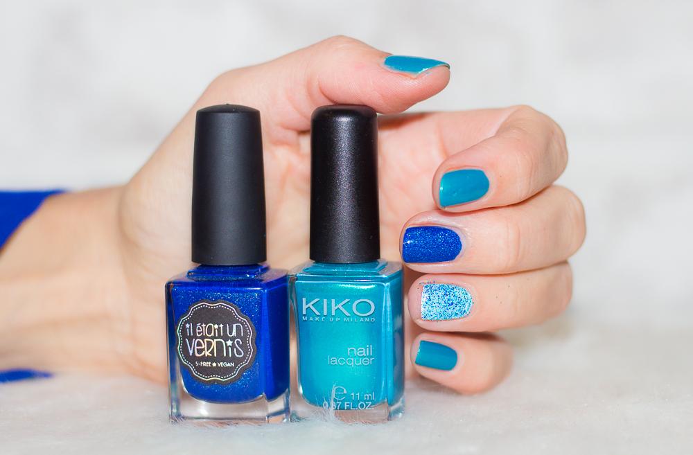 nailart - paillettes - bleu - turquoise