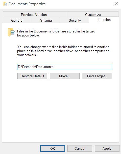 Changing Location for Windows User Files and Folders