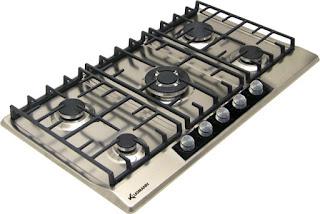 بوتاجاز كلوجمان مسطح بلت إن 90 × 60 سم 5 شعلة غاز لون استانلس ستيل مزود بأمان كامل للشعلات KT905.5GX