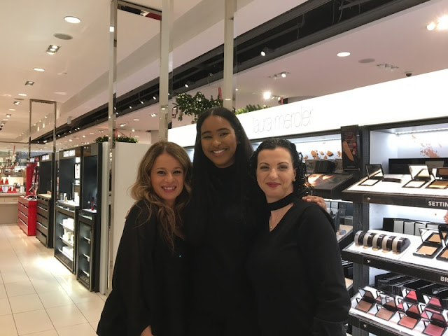 three women at the Laura Mercier counter at Nordstrom in the Rideau Centre