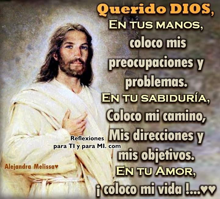 QUERIDO DIOS:  EN TUS MANOS,  coloco mis preocupaciones y problemas.  EN TU SABIDURÍA,  coloco mi camino, mis direcciones y mis objetivos.  EN TU AMOR,  coloco mi vida !!!...  Amén!