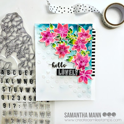 Hello Lovely Card by Samantha Mann for Create a Smile Stamps, Flowers, Watercolor, Stamps, Cards, Handmade cards #createasmile #stamps #watercolor