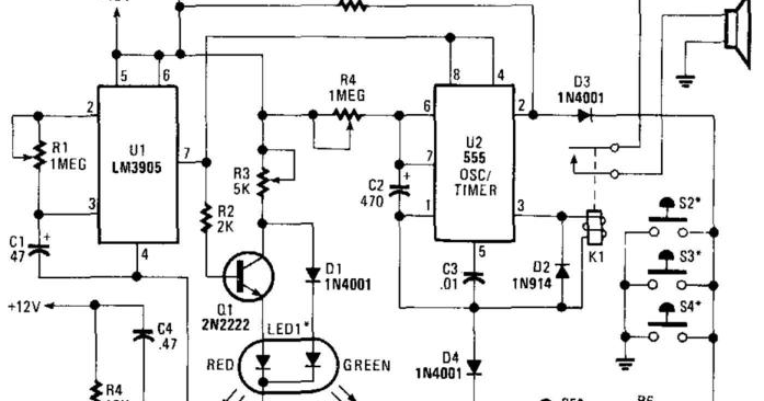 schematic of the door opening alert circuit