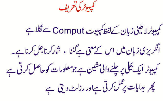 Computer in Urdu Language - IT Classes Online