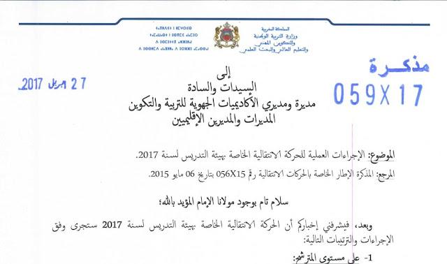 مذكرة وزارية بشأن الاجراءات العملية للحركة الانتقالية الخاصة بهيئة التدريس لسنة 2017