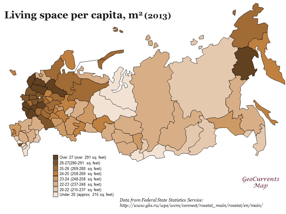 Living space per capita, m2
