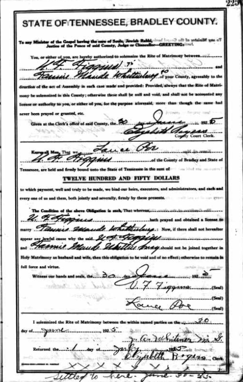 marriage record Uriah Figgins and Maude Whittenburg Figgins