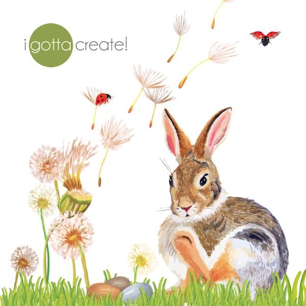 Bunny in dandelions by I Gotta Create!