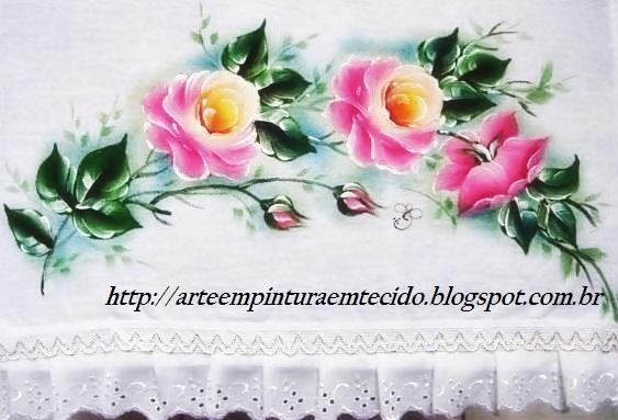 pintura em tecido pano de prato rosa