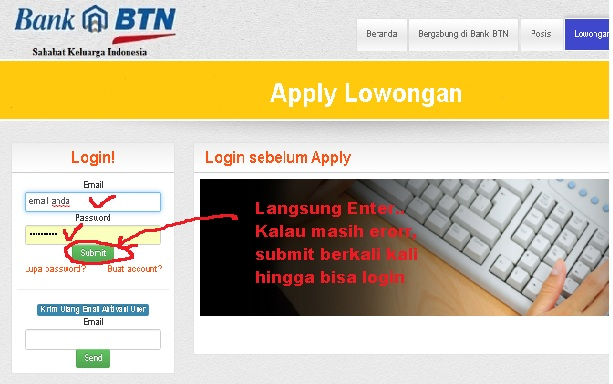 Log in pada website Bank BTN