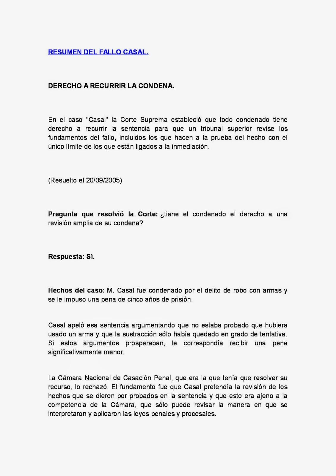 RESUMEN DE FALLOS: RESUMEN DEL FALLO CASAL