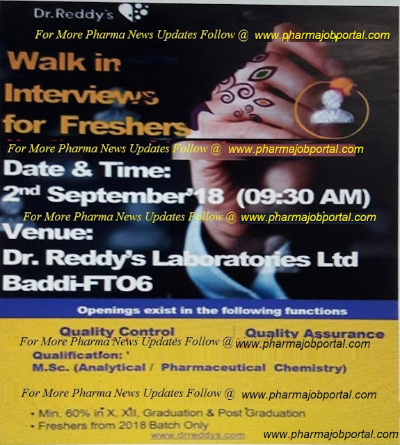 Dr.Reddy's Walk In Interviews FRESHERS, Quality Control & Quality Assurance Departments 2 September