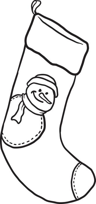 Plain christmas stocking coloring page