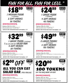 free Chuck E Cheese coupons december 2016