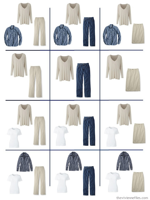 12 outfits taken from 9 wardrobe Neutral Building Blocks