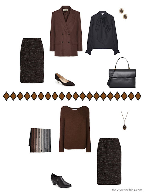 How to wear brown and black together - two ideas