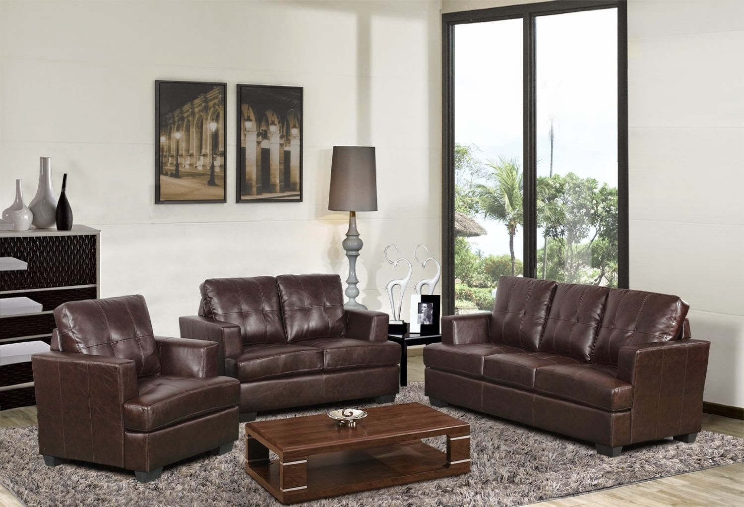 Brown leather sofa and white walls beautiful home design - Marvelous furniture for living room decoration with various round brown cream leather ottoman ...
