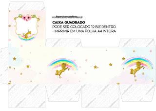 Cajas  Cubo de Fiesta de Unicornios para imprimir gratis.