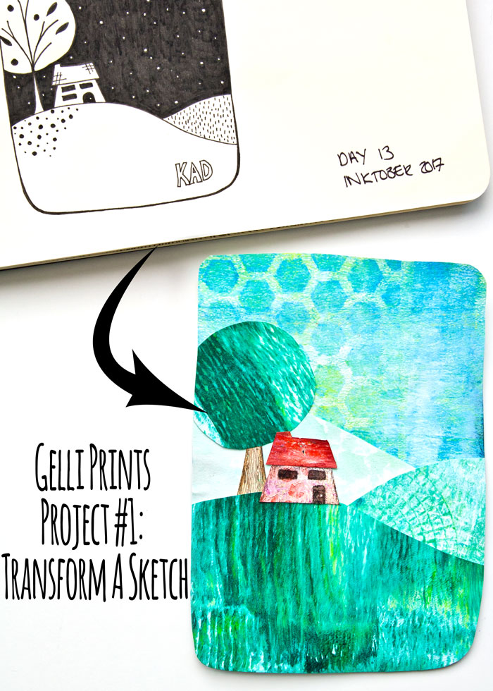 Gelli Prints Project #1: Transform A Sketch, a video by Kim Dellow