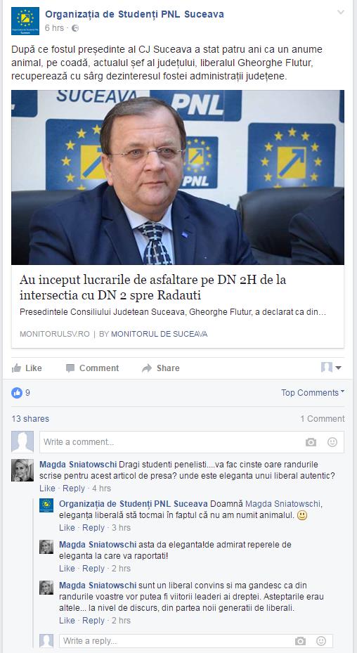 Limbaj suburban pe paginile de Facebook ale PNL Suceava