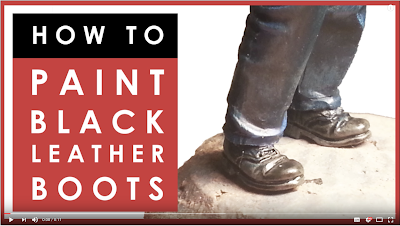 How to easily paint black leather boots on scale model figures