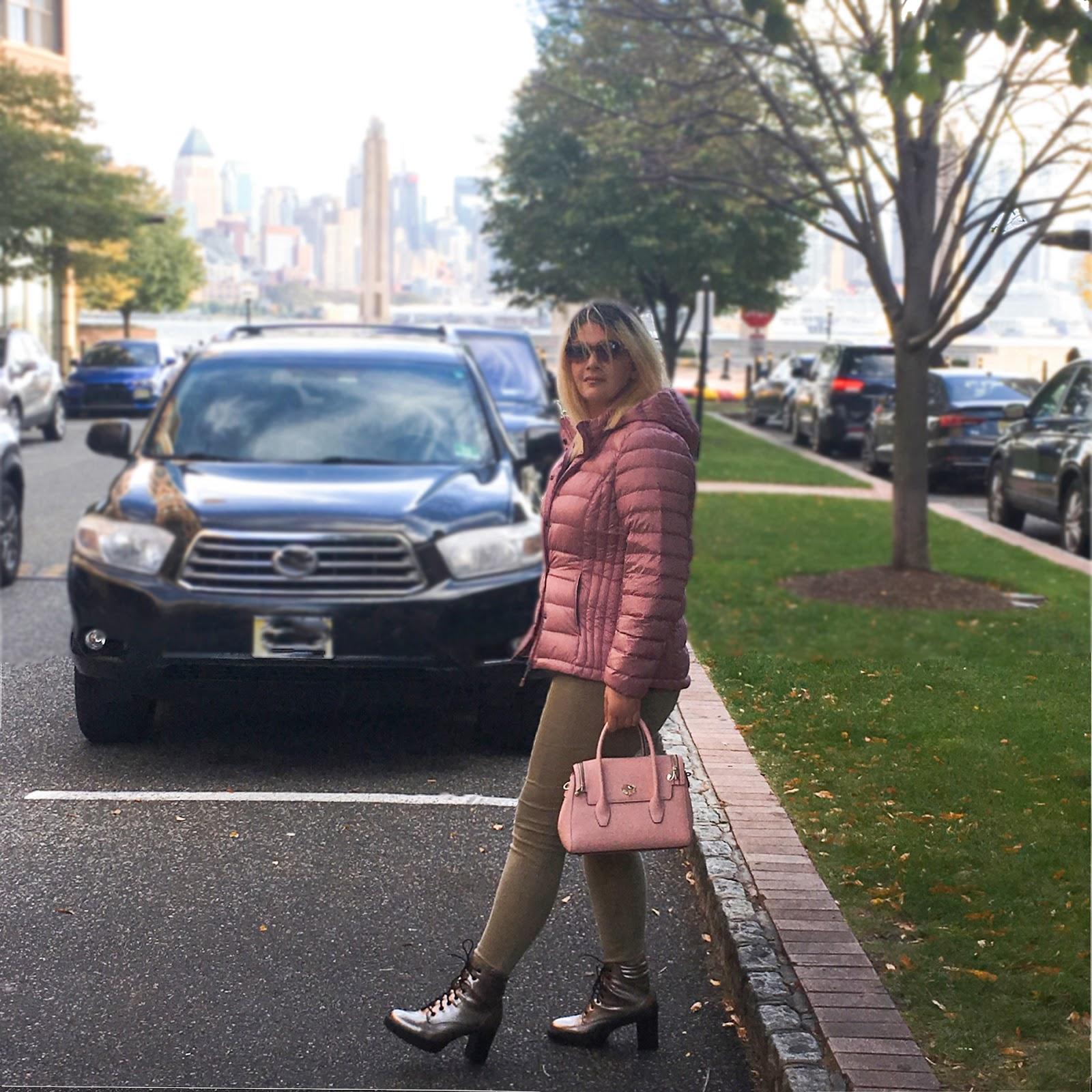 Blush puffer jacket, pink bag and metallic boots