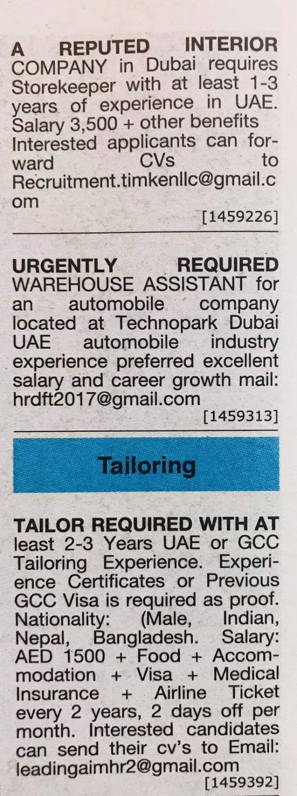 Required Warehouse Assistant, Storekeeper and Tailor for UAE JOBS