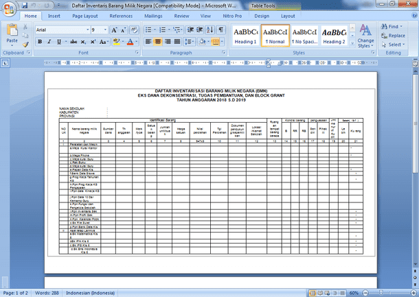 Contoh Format Daftar Inventarisasi Barang Milik Negara