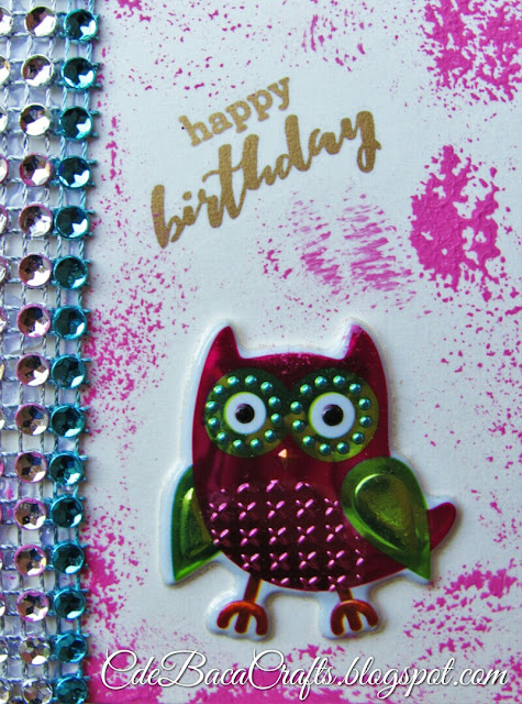 Cute happy birthday card handmade with owl stickers and paper flowers by CdeBaca Crafts.