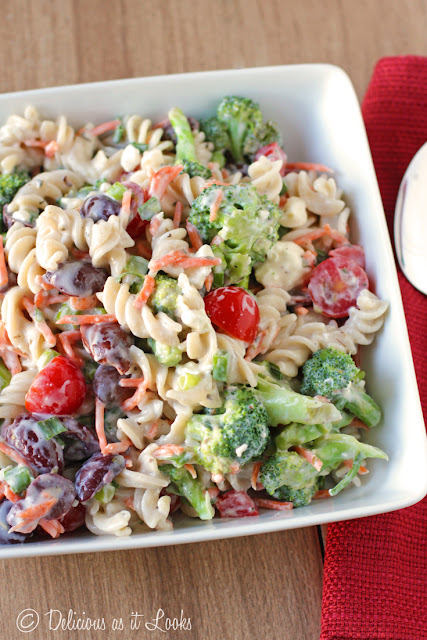 Creamy Feta Pasta Salad (Low-FODMAP and Gluten-Free)  /  Delicious as it Looks