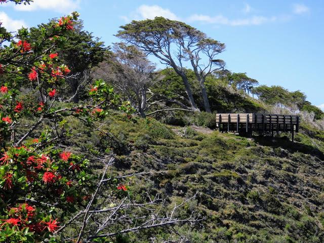 Fort Bulnes viewing platform over the Strait of Magellan near Punta Arenas Chile