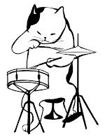 דף צביעה חתול מנגן על תופים