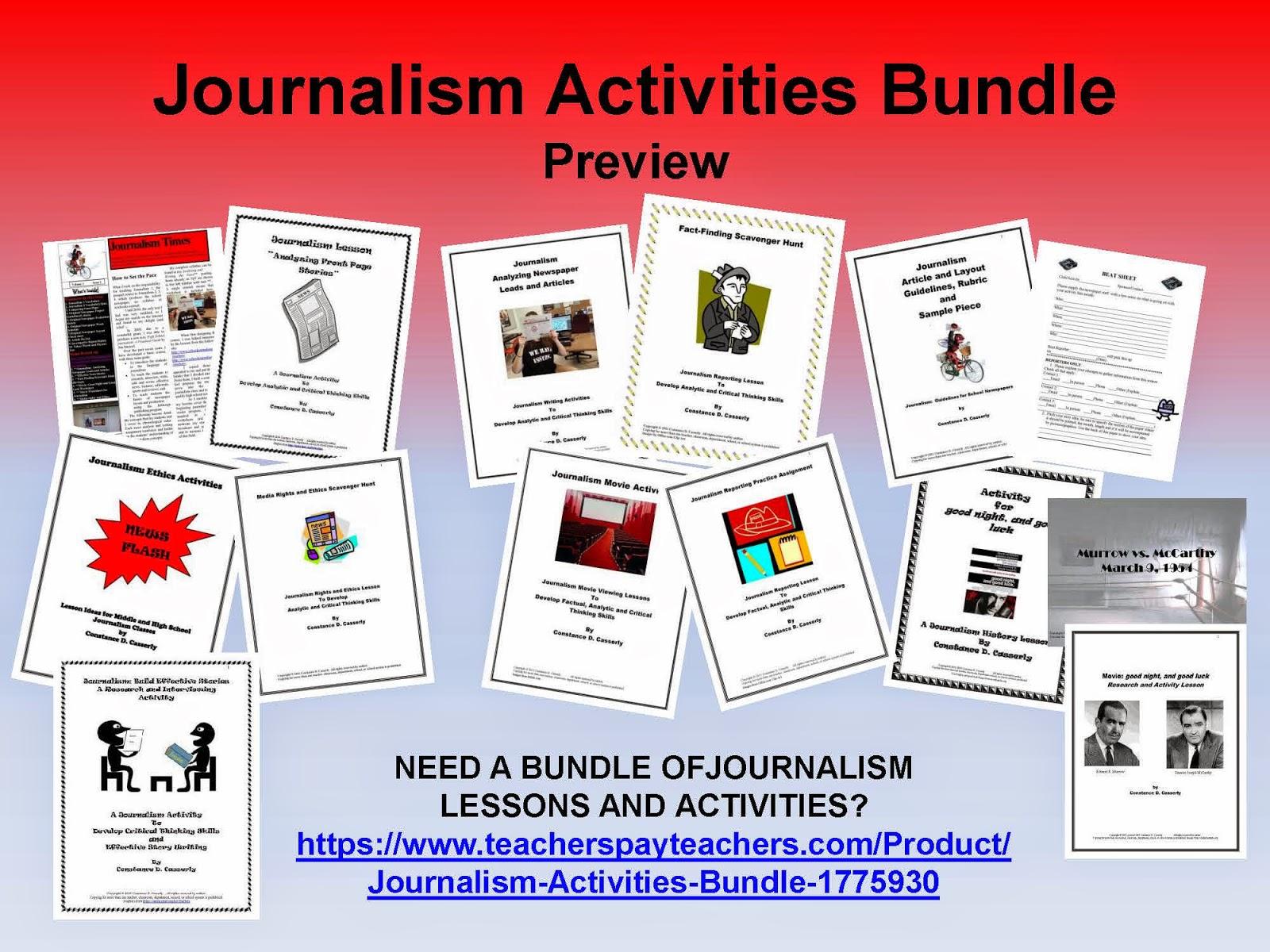 Teach It Write News Flash Journalism Activity Bundle