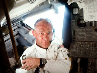 Buzz Aldrin in the ''Eagle'' lunar module during the Apollo 11 mission.