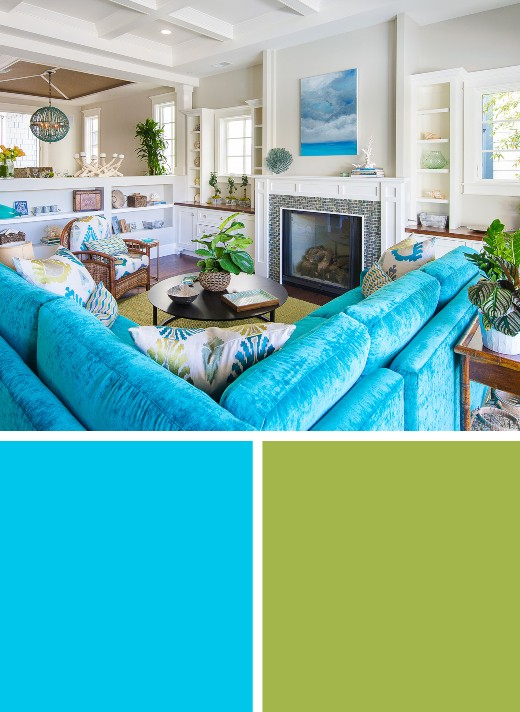 Blue Green Color Palette Coastal Living Room