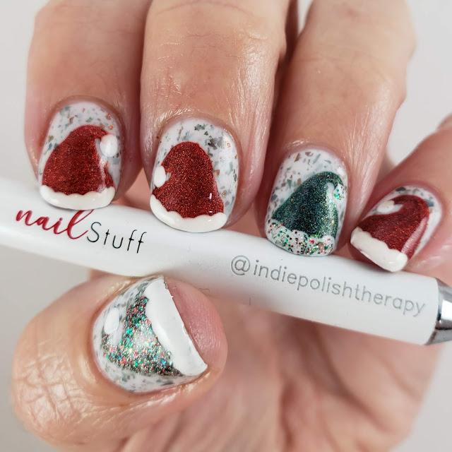 kbshimmer, christmas nail art, santa hats, nailstuff.ca tools