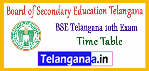 BSE Board of Secondary Education Telangana 10th SSC Exam Time Table 2019