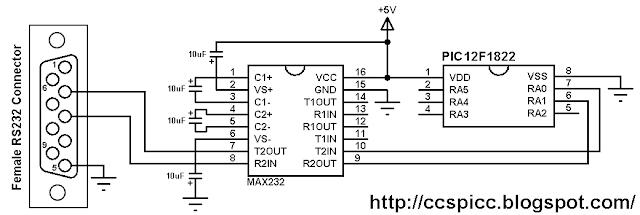 PIC12F1822 UART example circuit