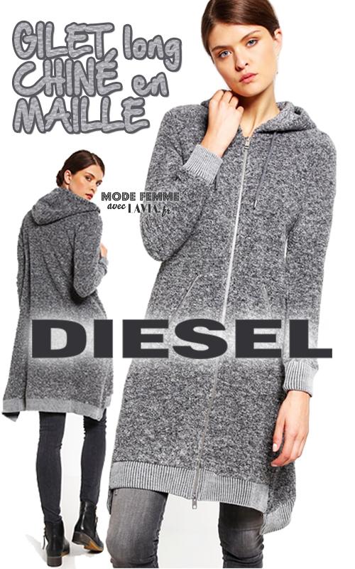 gilet long capuche chin gris femme diesel. Black Bedroom Furniture Sets. Home Design Ideas