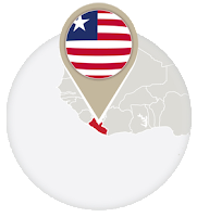 Liberian flag and map