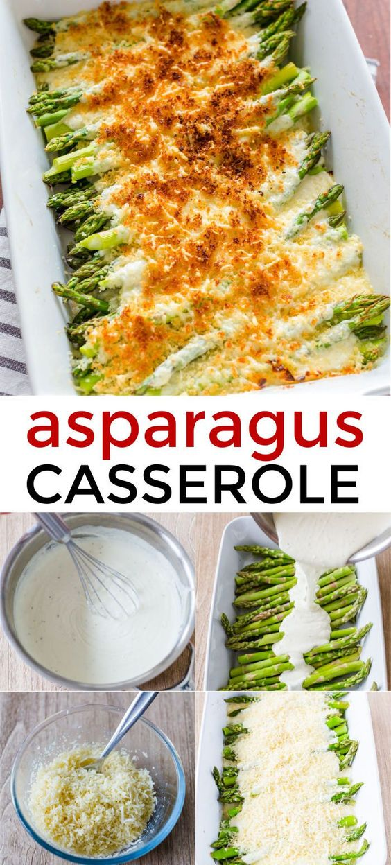 The easiest creamy, cheesy Asparagus Casserole! This is so impressive for company and it reheats really well.